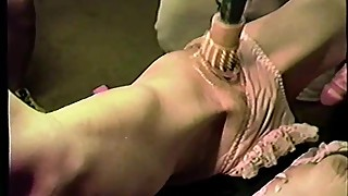 Trailer trash sub - tied to the bench - drill dildo torture