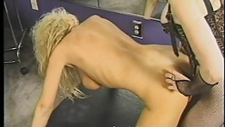 Luscious blonde tart with massive melons gets whipped by an inked redhead