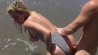 Busty Sally Enjoys Anal Sex in the Beach