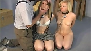 Two slutty blondes tied gagged fondled