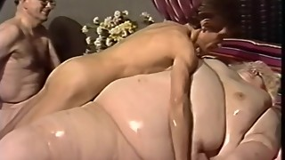 German SSBBW fucked by thin man and woman.