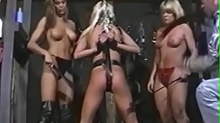 Nubile babe fondled and whipped by deviant hotties