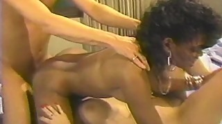 Hot interracial threesome in bedroom