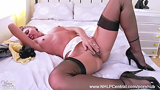 French Milf Chloe strips down to garter vintage nylons and masturbates hard