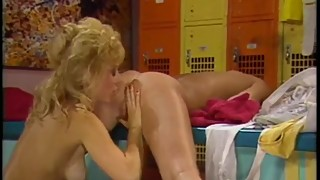 Vintage lesbians lick pussy after working out