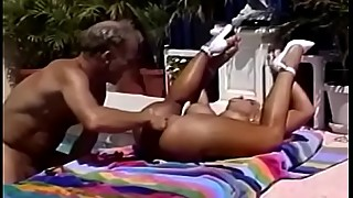 Retro blonde pornstar fucks anal by the pool