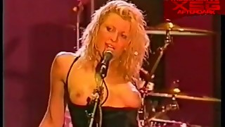 Hole's Courtney Love in topless on stage at the Big Day Out 1999