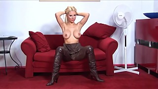 Beautiful Classic Blond in Modern Vintage High Boots
