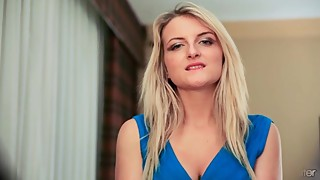 Jemma Valentine Teases in Blue Dress & Classic Lingerie
