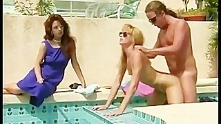 Crazy 1980s porn fucking by the pool