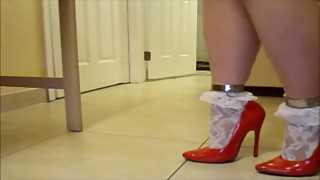 Red heels with white socks